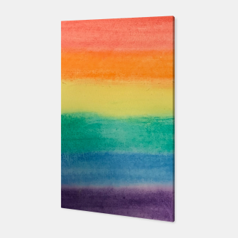 Miniatur Large Hand Painted Watercolor Gay Pride Rainbow Equality and Freedom Flag Canvas, Live Heroes