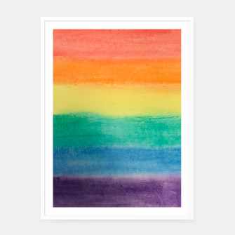 Miniatur Large Hand Painted Watercolor Gay Pride Rainbow Equality and Freedom Flag Framed poster, Live Heroes