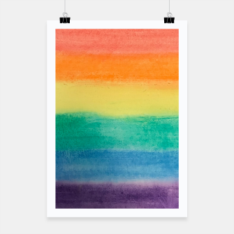 Miniatur Large Hand Painted Watercolor Gay Pride Rainbow Equality and Freedom Flag Poster, Live Heroes