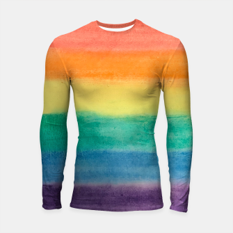 Miniatur Large Hand Painted Watercolor Gay Pride Rainbow Equality and Freedom Flag Longsleeve rashguard , Live Heroes
