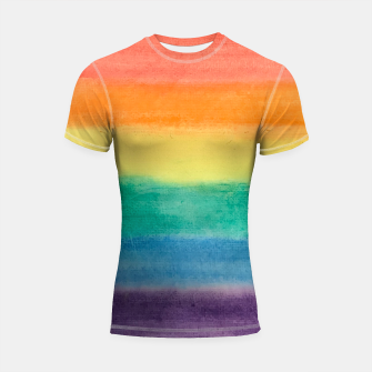 Miniatur Large Hand Painted Watercolor Gay Pride Rainbow Equality and Freedom Flag Shortsleeve rashguard, Live Heroes