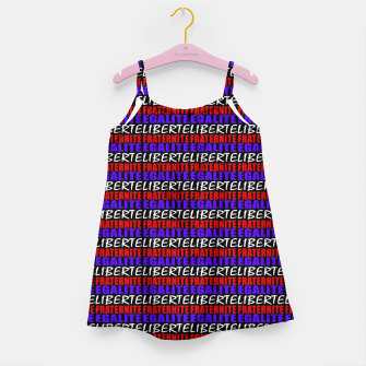 Miniatur French Revolution Typographic Pattern Design Girl's dress, Live Heroes