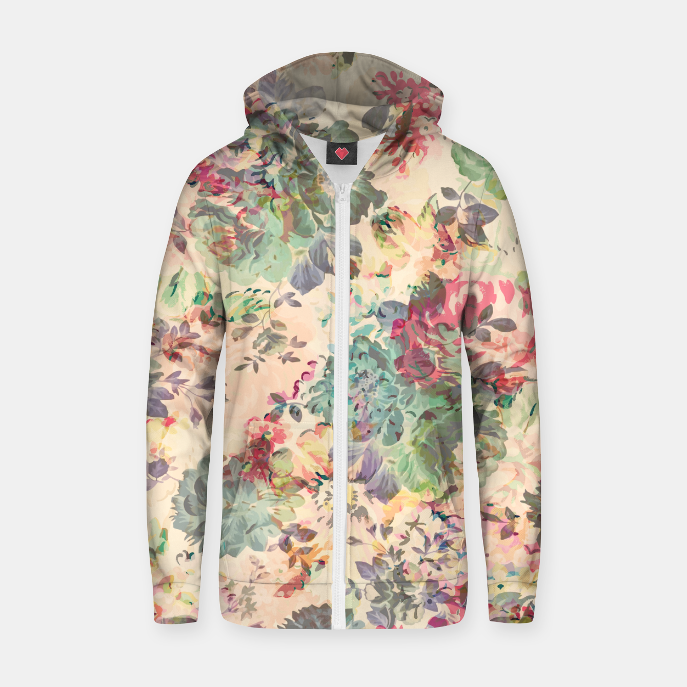 Foto Flower Abstraction Cotton zip up hoodie - Live Heroes
