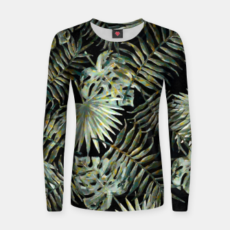 Thumbnail image of Jungle Dark Tropical Leaves Watercolor |  Woman cotton sweater, Live Heroes