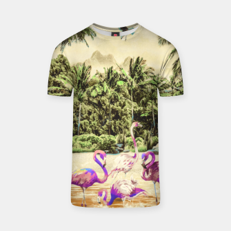 Thumbnail image of Flamingos on the beach 01 Camiseta, Live Heroes
