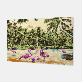 Thumbnail image of Flamingos on the beach 01 Canvas, Live Heroes