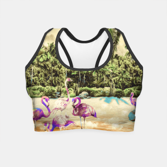 Thumbnail image of Flamingos on the beach 01 Crop Top, Live Heroes