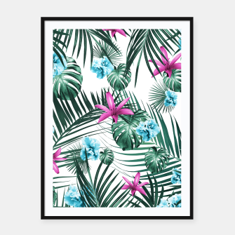 Tropical Flowers & Leaves Paradise #3 #tropical #decor #art Plakat mit rahmen Bild der Miniatur