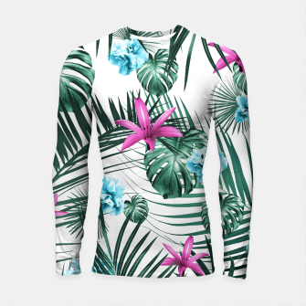 Miniatur Tropical Flowers & Leaves Paradise #3 #tropical #decor #art Longsleeve rashguard, Live Heroes