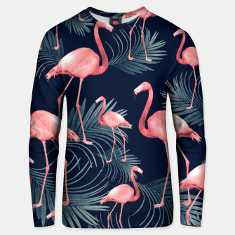 Summer Flamingo Palm Night Vibes #1 #tropical #decor #art Baumwoll sweatshirt obraz miniatury
