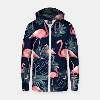 Miniaturka Summer Flamingo Palm Night Vibes #1 #tropical #decor #art Baumwoll reißverschluss kapuzenpullover, Live Heroes