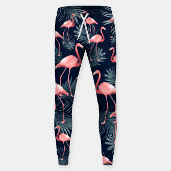 Summer Flamingo Palm Night Vibes #1 #tropical #decor #art Baumwoll hosen obraz miniatury