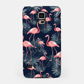Summer Flamingo Palm Night Vibes #1 #tropical #decor #art Handyhülle für Samsung obraz miniatury