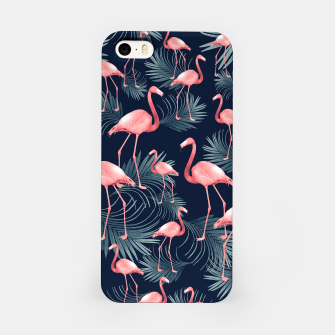 Summer Flamingo Palm Night Vibes #1 #tropical #decor #art iPhone-Hülle obraz miniatury