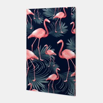 Summer Flamingo Palm Night Vibes #1 #tropical #decor #art Canvas miniature