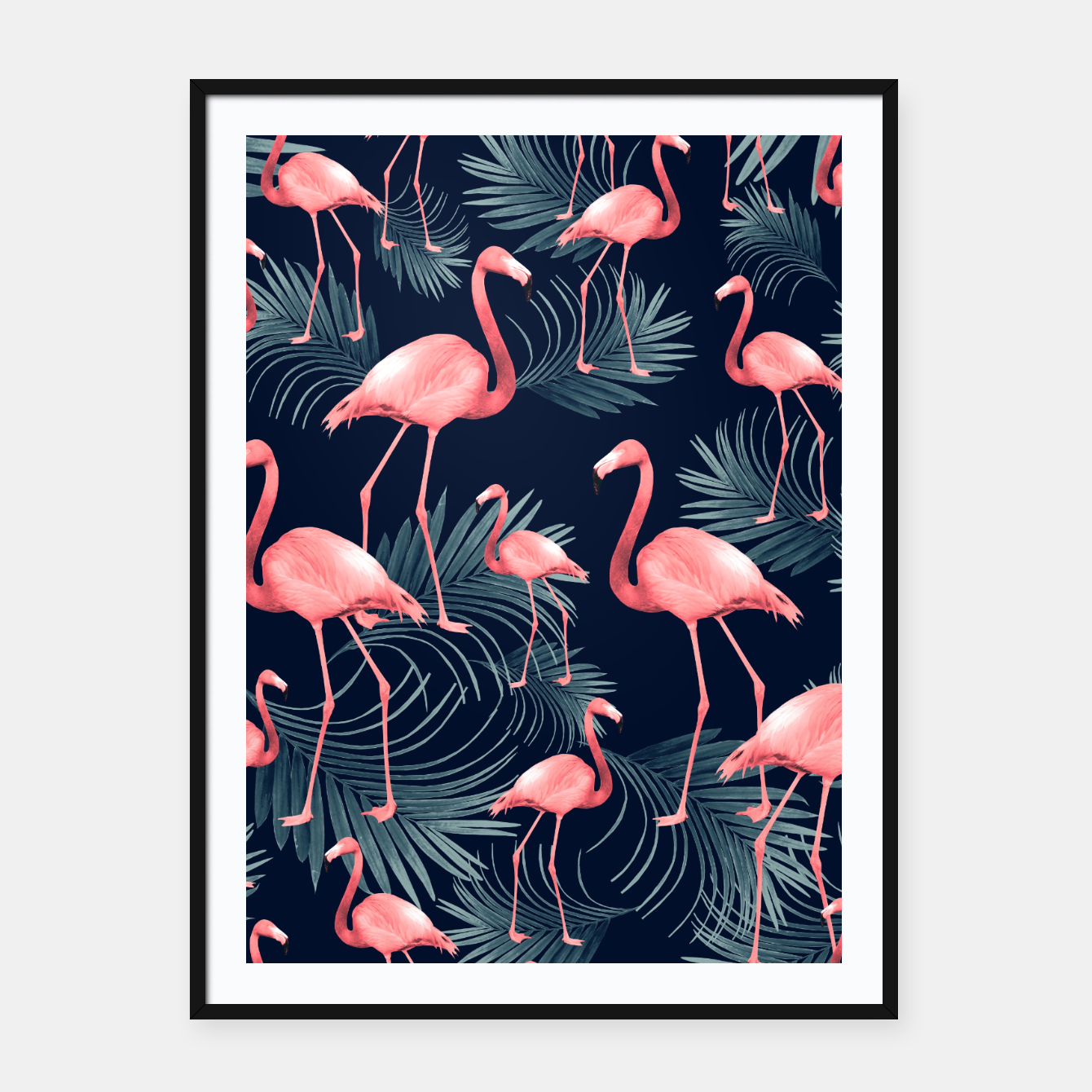 Zdjęcie Summer Flamingo Palm Night Vibes #1 #tropical #decor #art Plakat mit rahmen - Live Heroes