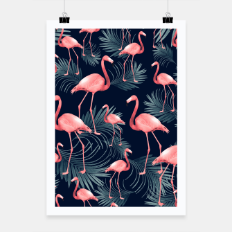 Summer Flamingo Palm Night Vibes #1 #tropical #decor #art Plakat obraz miniatury