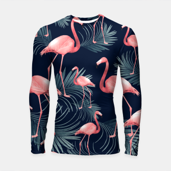 Summer Flamingo Palm Night Vibes #1 #tropical #decor #art Longsleeve rashguard obraz miniatury