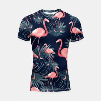 Summer Flamingo Palm Night Vibes #1 #tropical #decor #art Shortsleeve rashguard miniature