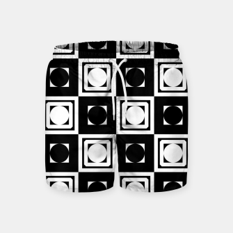 Thumbnail image of Black White Hollow Out Squares Swim Shorts, Live Heroes