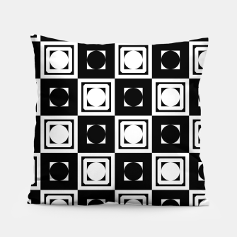 Thumbnail image of Black White Hollow Out Squares Pillow, Live Heroes