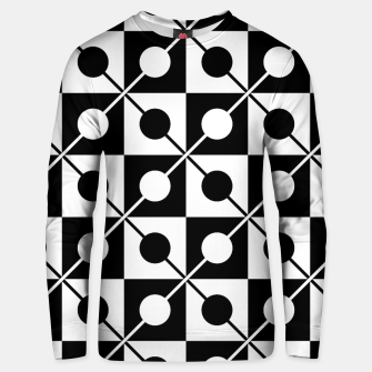 Black White Squares, Circles & Lines Cotton sweater obraz miniatury