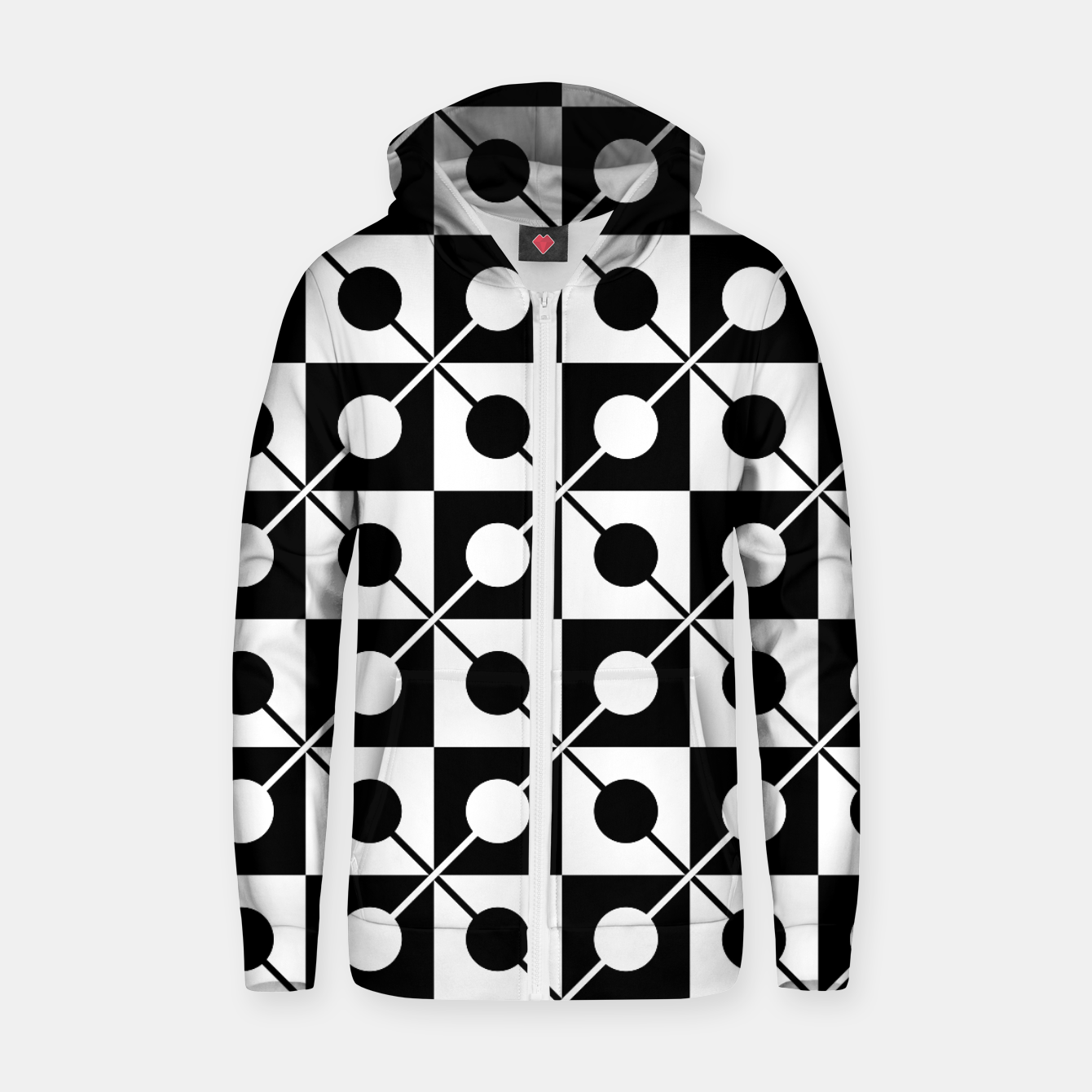 Zdjęcie Black White Squares, Circles & Lines Cotton zip up hoodie - Live Heroes