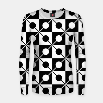 Black White Squares, Circles & Lines Woman cotton sweater obraz miniatury