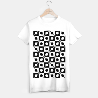Black White Squares, Circles & Lines T-shirt regular obraz miniatury
