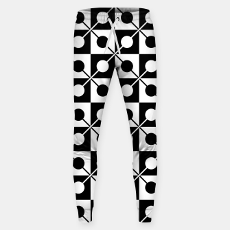 Black White Squares, Circles & Lines Cotton sweatpants obraz miniatury