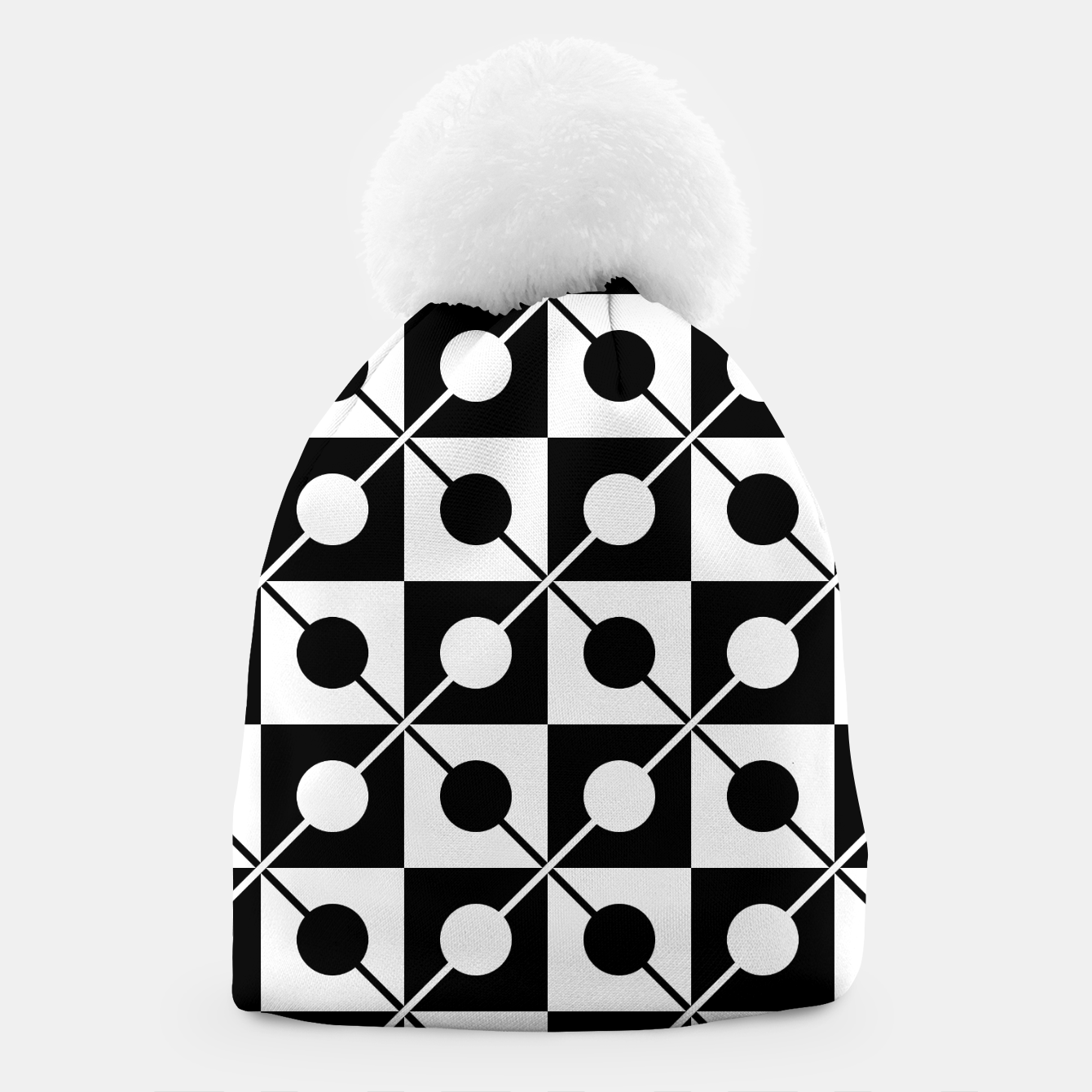 Zdjęcie Black White Squares, Circles & Lines Beanie - Live Heroes