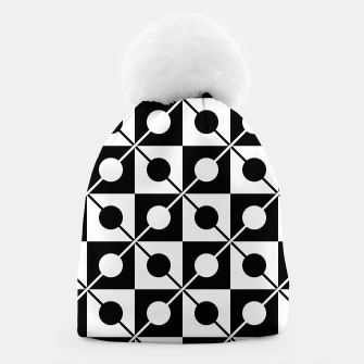 Thumbnail image of Black White Squares, Circles & Lines Beanie, Live Heroes