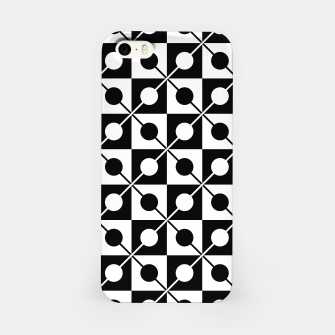 Black White Squares, Circles & Lines iPhone Case obraz miniatury