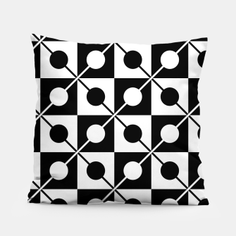 Black White Squares, Circles & Lines Pillow obraz miniatury