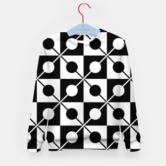 Black White Squares, Circles & Lines Kid's sweater obraz miniatury