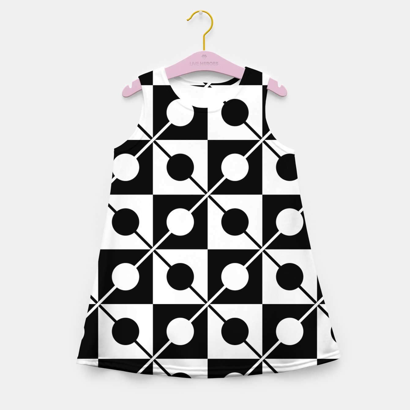 Zdjęcie Black White Squares, Circles & Lines Girl's summer dress - Live Heroes