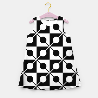 Black White Squares, Circles & Lines Girl's summer dress obraz miniatury