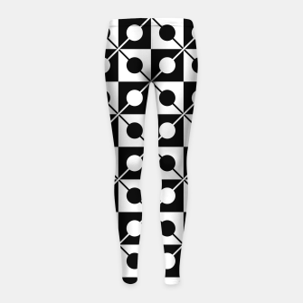 Black White Squares, Circles & Lines Girl's leggings obraz miniatury