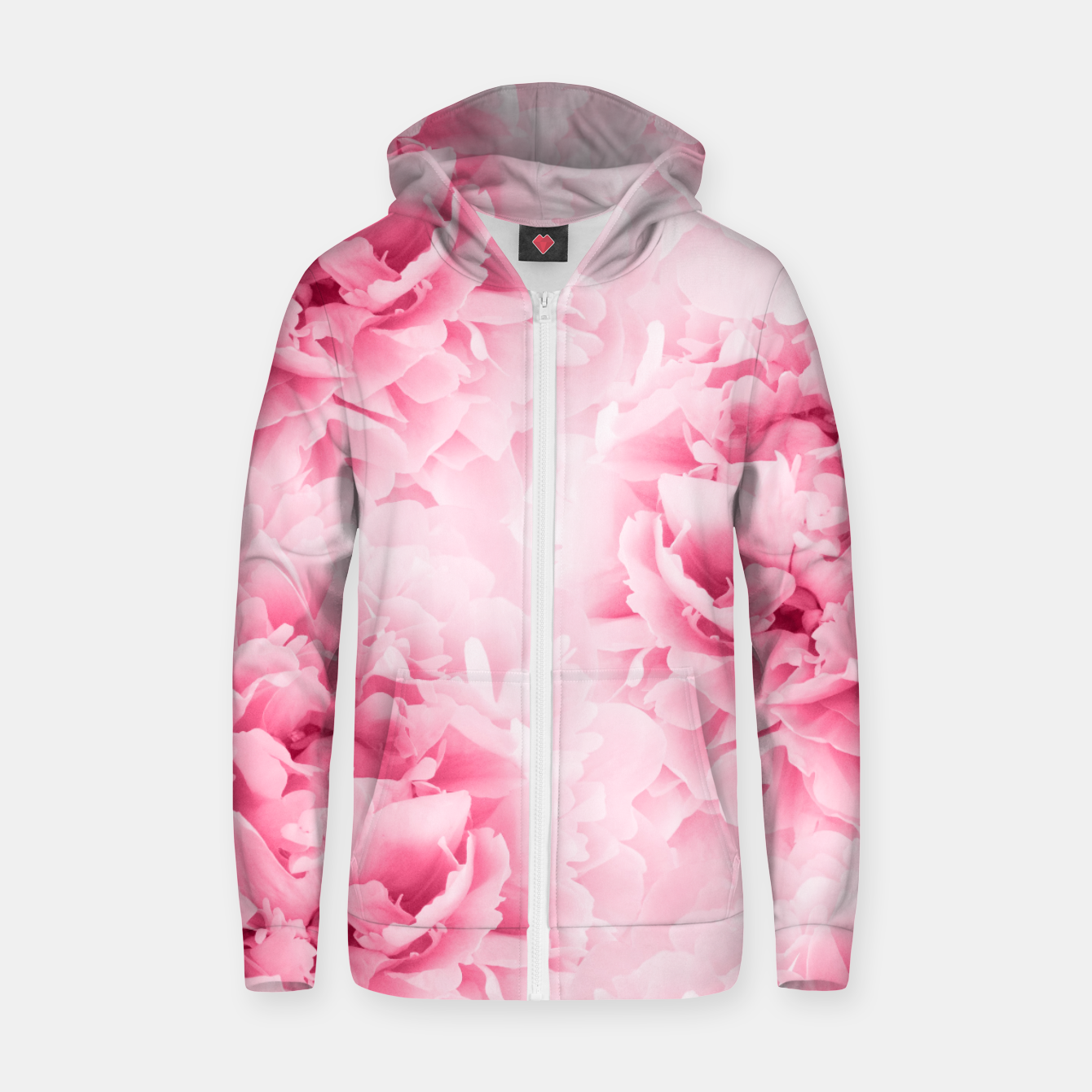 Image of Light Red Peonies Dream #1 #floral #decor #art Baumwoll reißverschluss kapuzenpullover - Live Heroes