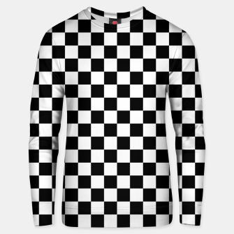 Thumbnail image of Black White Checker Board Pattern Cotton sweater, Live Heroes