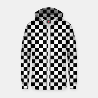 Thumbnail image of Black White Checker Board Pattern Cotton zip up hoodie, Live Heroes