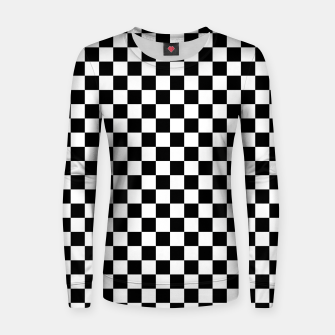 Thumbnail image of Black White Checker Board Pattern Woman cotton sweater, Live Heroes