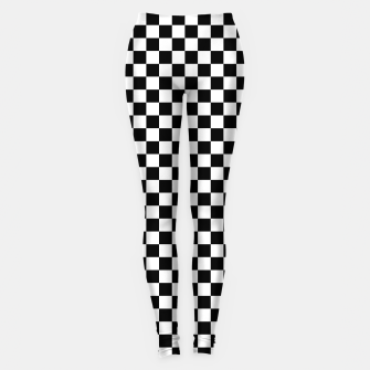 Thumbnail image of Black White Checker Board Pattern Leggings, Live Heroes