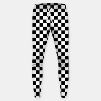 Thumbnail image of Black White Checker Board Pattern Cotton sweatpants, Live Heroes