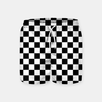 Thumbnail image of Black White Checker Board Pattern Swim Shorts, Live Heroes