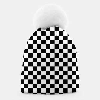 Thumbnail image of Black White Checker Board Pattern Beanie, Live Heroes