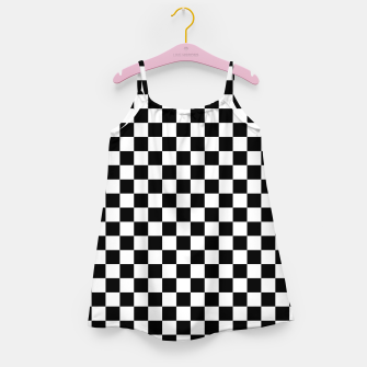 Thumbnail image of Black White Checker Board Pattern Girl's dress, Live Heroes