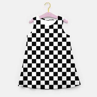 Thumbnail image of Black White Checker Board Pattern Girl's summer dress, Live Heroes