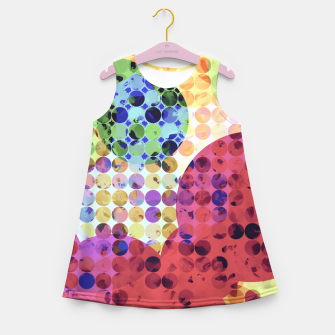 Miniaturka geometric circle pattern abstract background in red pink yellow orange green Girl's summer dress, Live Heroes