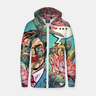 Thumbnail image of Keeping Mouth Shut Cotton zip up hoodie, Live Heroes